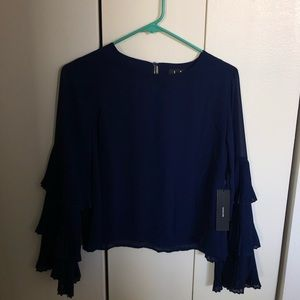 Brand New Lulu's Blue Bell Sleeve Long Sleeve Top
